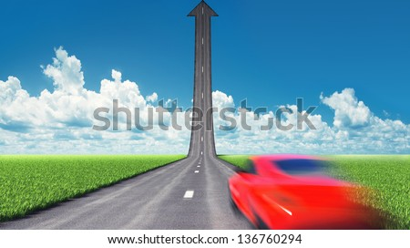 moving car on the road. motion blur effect - stock photo