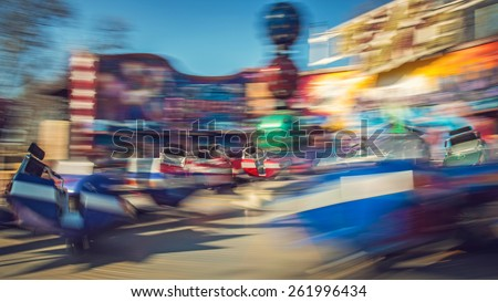 Moving carousel break dance, theme park, Budapest, Hungary - stock photo