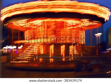 moving carousel in night city