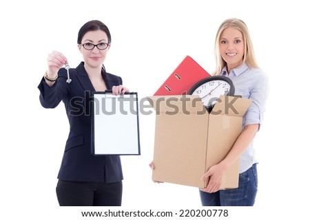 moving concept - attractive business woman showing clipboard and metal key and girl with box isolated on white background - stock photo