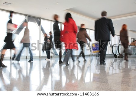 moving crowd. motion blur - stock photo