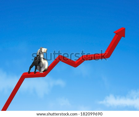 Moving 3d money symbol up on growing red arrow - stock photo