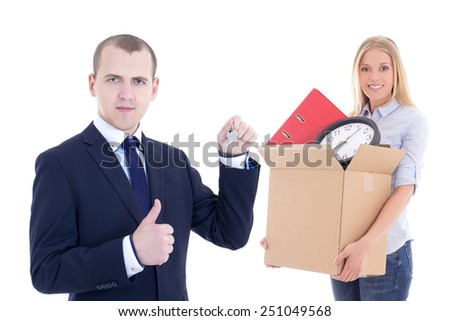 moving day concept - business man giving key to woman with cardboard box isolated on white background - stock photo