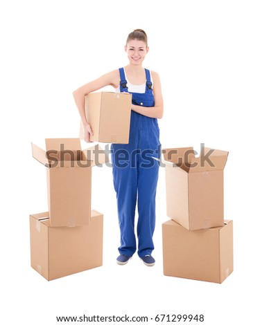 moving day concept - young attractive woman in workwear with cardboard boxes isolated on white  background