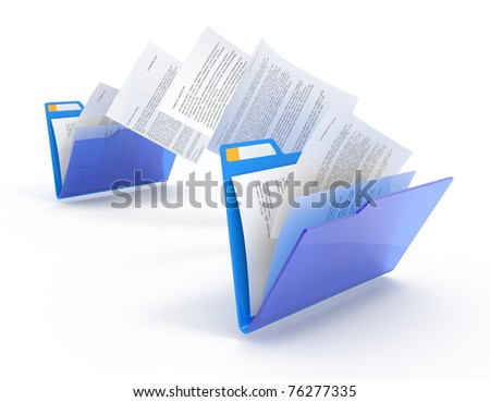 Moving documents between folders. 3d illustration. - stock photo