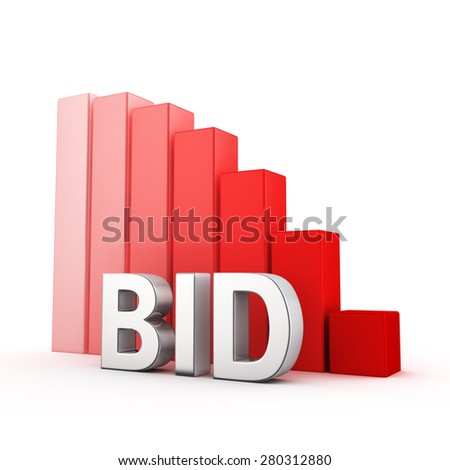 Moving down red bar graph of Bid on white - stock photo