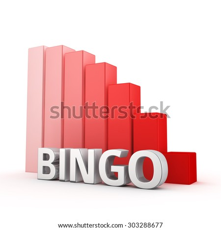 Moving down red bar graph of Bingo on white. Prize decrease concept.