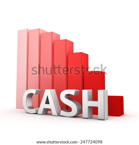 Moving down red bar graph of Cash on white. Recession and crisis concept. - stock photo