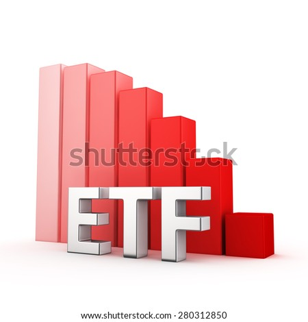 Moving down red bar graph of ETF on white. Financial funds decrease concept. - stock photo