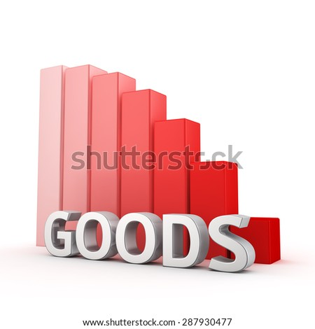 Moving down red bar graph of Goods on white