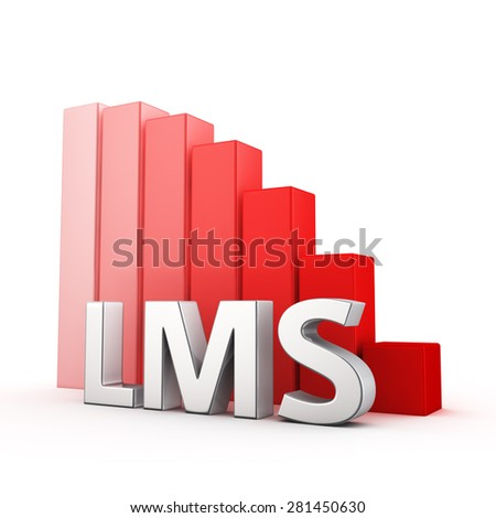 Moving down red bar graph of LMS on white. Learning management system decrease concept. - stock photo