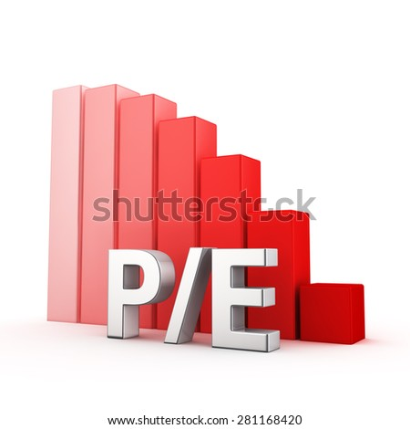 Moving down red bar graph of P/E on white. Investment attractiveness concept. - stock photo