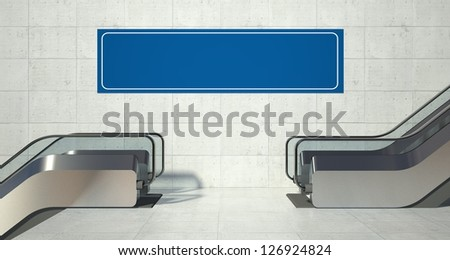 Moving escalator stairs and empty advertising billboard - stock photo