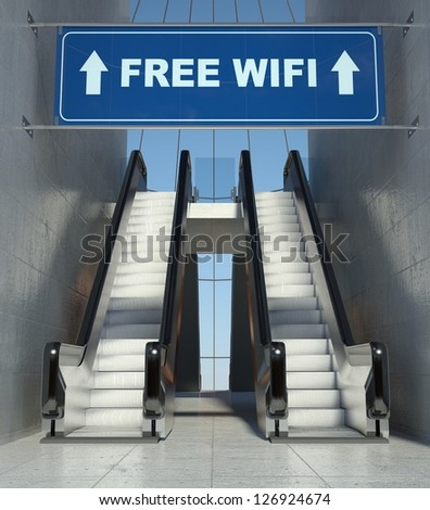 Moving escalator stairs in modern building, free wifi sign - stock photo