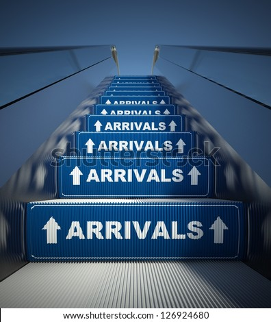 Moving escalator stairs to arrivals, airport conception - stock photo