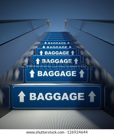 Moving escalator stairs to baggage, airport conception - stock photo