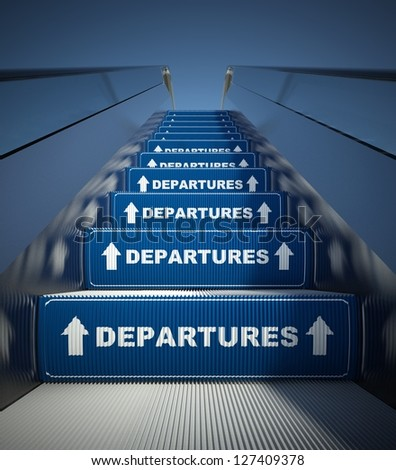 Moving escalator stairs to departures, airport conception - stock photo
