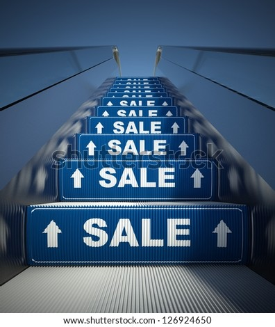 Moving escalator stairs to sale, conception - stock photo