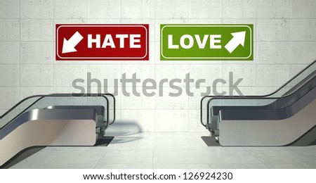Moving escalators stairs, love hate sign - stock photo