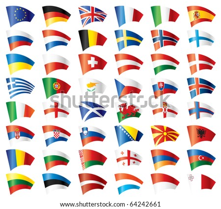 Moving flags set - Europe. 48 flags. . JPEG version.