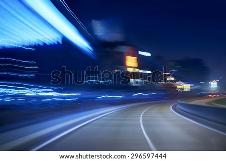 moving forward motion blur background,night scene - stock photo