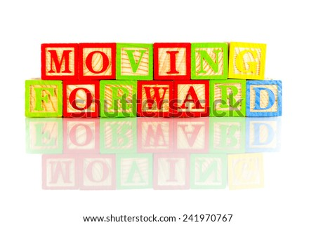 moving forward word reflection in white background