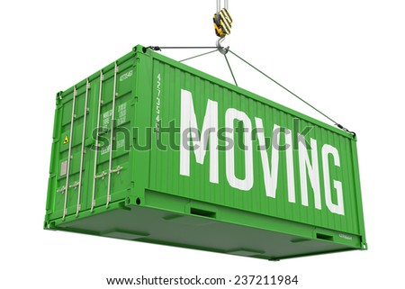 Moving - Green Cargo Container hoisted by hook, Isolated on White Background. - stock photo