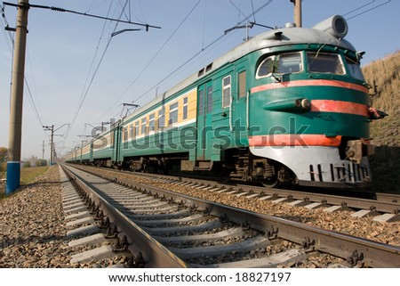 moving green passenger electric train