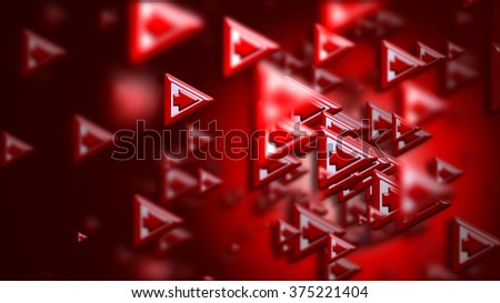 Moving group of arrows on a red backdrop, as a concept and a sign of the wrong choice of internet community in cyberspace for determination direction and areas of cooperation of the crowd - stock photo