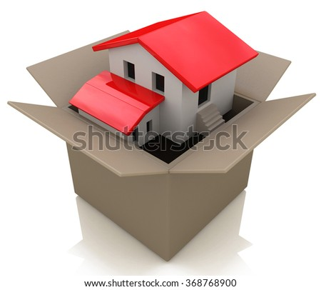 Moving house and move day with a model home in an opened cardboard box as an illustration of the healthy real estate market sales and packing to change neighborhood due to business work transfer