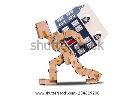 Moving house concept with character made of boxes with a home on his back isolated on a white background - stock photo