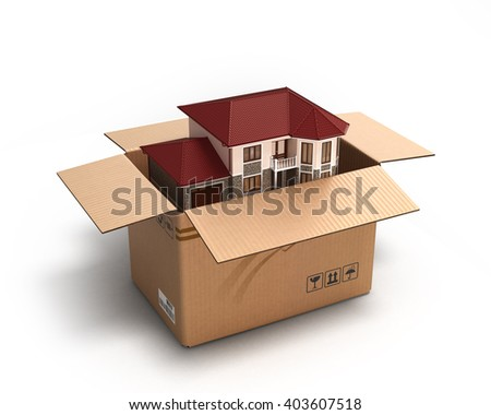 Moving house. Real estate market. Three-dimensional image. 3d render - stock photo