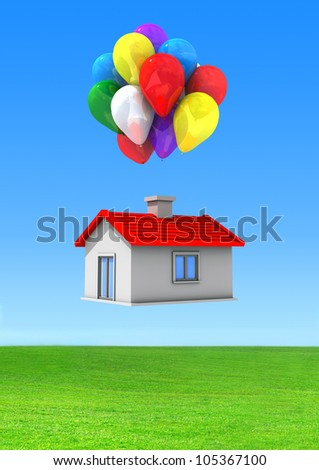 Moving house with lots of colorful balloons flying on a green lawn. - stock photo