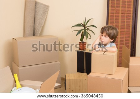 Moving into a new house - stock photo