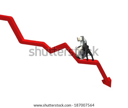 Moving large money symbol up on going down red arrow - stock photo