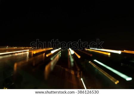 moving light , long exposure blur - stock photo