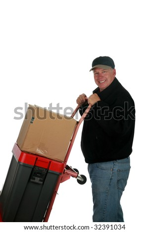 moving man with hand truck and boxes  isolated on white with room for your text