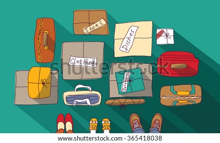 Moving passage luggage family things in boxes.  Color illustration.