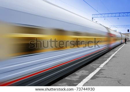 Moving train - stock photo