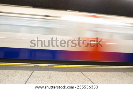 Moving train, motion blurred, London Underground  - stock photo