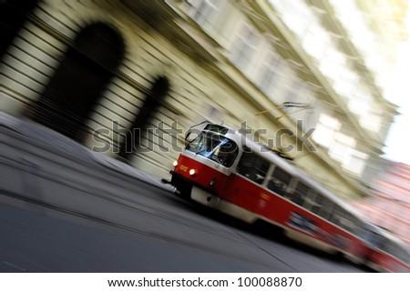 Moving tram in Prague - stock photo