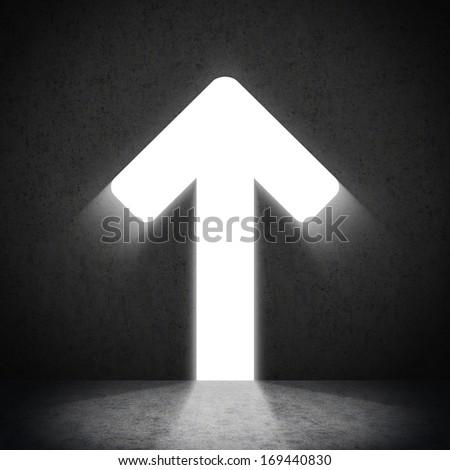 Moving up arrow - stock photo