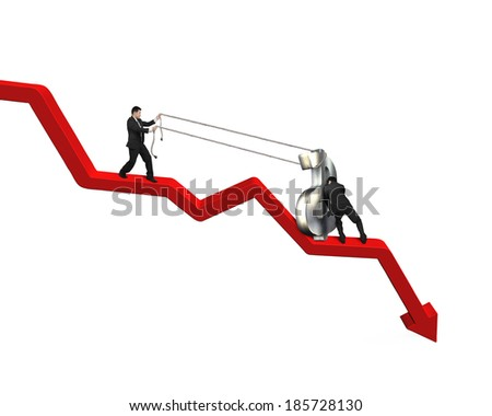 Moving up money symbol on going down red arrow - stock photo
