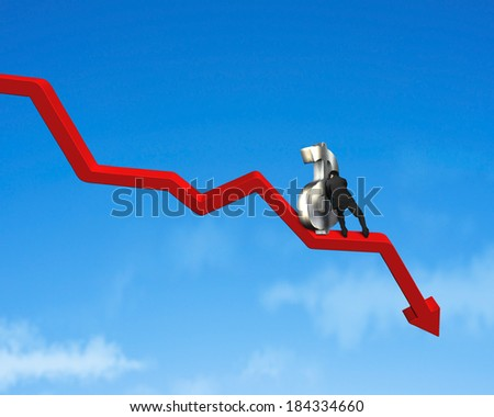 Moving up money symbol on going down red arrow blue sky background - stock photo