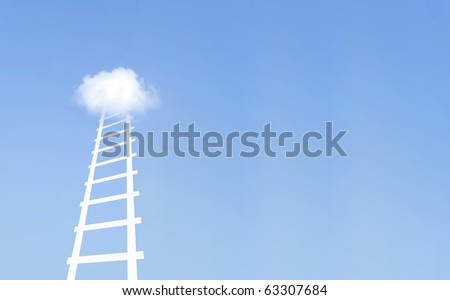 Moving up the ladder - stock photo