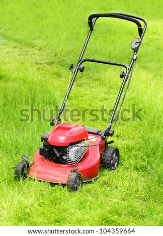 Mowing grass on a rural garden. - stock photo