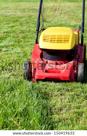 mowing green grass in summer day