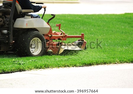 mowing the lawn - stock photo