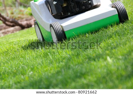 Mowing the lawn by green lawnmower - stock photo