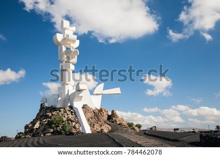 Mozaga, Lanzarote, Spain - 2017, December 22 : The Monumento al Campesino or Farmer's Monument next to the road in the center of Lanzarote designed by the famous artist Cesar Manrique